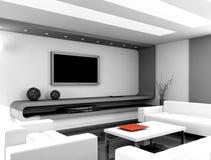 3D geef modern binnenland van woonkamer terug Royalty-vrije Stock Afbeeldingen