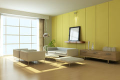 3d geef moderne woonkamer terug Royalty-vrije Stock Foto's