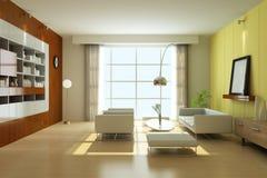 3d geef moderne woonkamer terug Royalty-vrije Stock Afbeeldingen