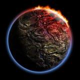3D geef planeet met het effect van de brandcorona terug Royalty-vrije Stock Foto