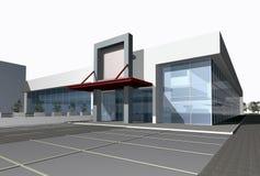 3D geef van commercieel centrum terug royalty-vrije illustratie
