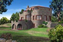 3D geef van een huis terug Stock Afbeelding