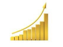3d geef van gouden grafiek terug Royalty-vrije Stock Fotografie