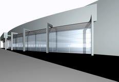 3d geef van modern Commercieel centrum terug vector illustratie