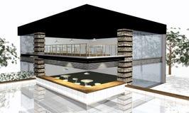3D geef van modern huis terug royalty-vrije illustratie