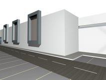 3D geef van moderne de bouwbuitenkant terug stock illustratie