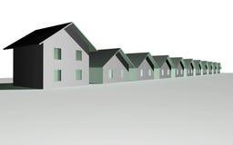 3D geef van moderne huizen terug stock illustratie