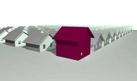 3D geef van moderne huizen terug vector illustratie