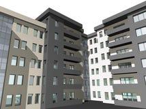 3D geef van moderne woningbouw terug stock illustratie