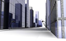 3D geef van straat in een grote stad met straatlantaarn terug stock fotografie