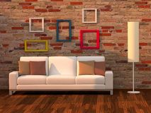 3d geef woonkamer, moderne ruimte terug Royalty-vrije Stock Afbeelding