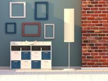 3d geef woonkamer, moderne ruimte terug Stock Foto