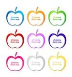 3D gekleurd appelembleem Royalty-vrije Stock Foto's