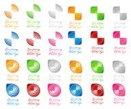 3D gekleurd half vierkant in cirkelembleem Royalty-vrije Stock Afbeelding