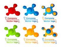 3D gekleurde moleculeemblemen Stock Foto's