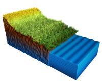 3d gelaagd grond/water dat op witte achtergrond wordt geïsoleerd, stock illustratie