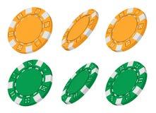 3d gelbe und grüne gemacht Kasinochips Stockbilder