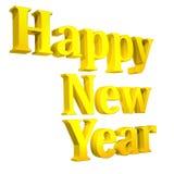 3D Gelukkige Tekst van het Nieuwjaar op wit Stock Foto