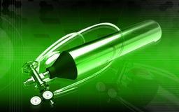 3d generated illustration of Aluminum oxygen tank Royalty Free Stock Photos