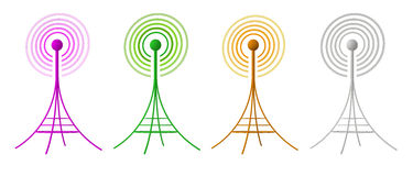 3D generated radio antennas isolated on white. 4 different colored antennas sending waves of signal Stock Image