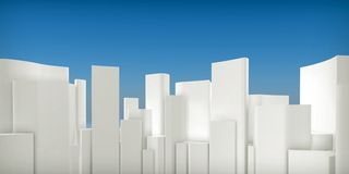 3d generic city skyline. On blue sky background Royalty Free Stock Images