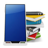 3d generic smartphone with books Royalty Free Stock Photo