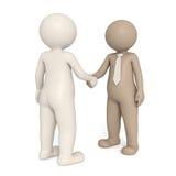 3d gentlemen shaking hands. Two 3d gentlemen with different nationalities shaking hands - Isolated Stock Photography