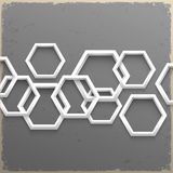 3d geometric hexagons on grunge background Stock Photo
