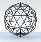 3d geosphere. 3d model geosphere chromed full version vector illustration