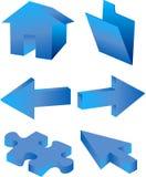 3d geplaatste pictogrammen Stock Foto's