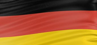 3D German flag. With fabric surface texture. White background Royalty Free Stock Image