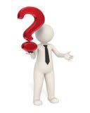 3d Geschäftsmann, der ein rotes Fragezeichen anhält stock abbildung