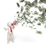 3d Geschäftsmann motivaton - Geldmitteilung Stockfoto