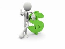 3d Geschäftsmann und das Dollarsymbol Stockfotos