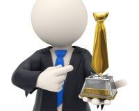 3d Geschäftsmann zugesprochen mit Goldgleichheitstrophäe Lizenzfreie Stockfotos