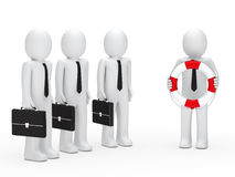 3d Geschäftsmannaktenkoffer und -rettungsgürtel Stockbilder