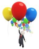 3d Geschäftsmannflugwesen mit bunten Ballonen lizenzfreie abbildung