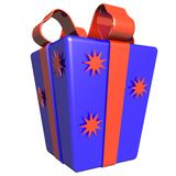 3D gift in a beautiful varicoloured box with a bow Royalty Free Stock Image