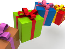 3d gift box. Present christmas ribbon birthday Stock Images