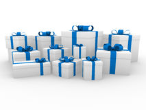 3d gift box blue white Royalty Free Stock Photos