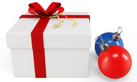 3d Gift box with Christmas balls Royalty Free Stock Image