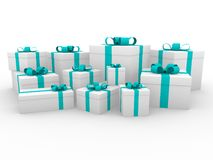 3d gift box green blue white Stock Photography