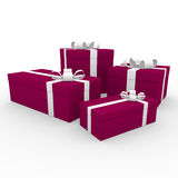 3d gift box red white Stock Images