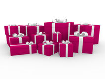3d gift box red white Stock Photography