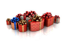 3d gift boxes. 3d illustration of xmas boxes over white background Stock Photo