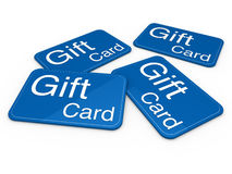 3d gift card blue Stock Photography