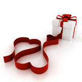 3d gift with red heart shaped ribbon. Isolated on white Royalty Free Stock Photography