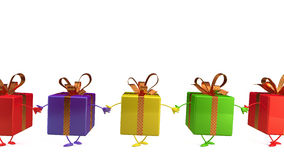3d gifts. 3d character gift isolated on white Royalty Free Stock Image