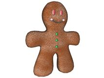 A 3d ginger bread man. Isolated white back ground Stock Photography