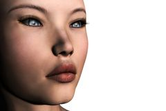 3D Girl. Close-up of a beautiful girl. This is a 3D rendered picture Stock Photo